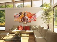 Handpainted Large Modern Abstract Wall Art Set 5 Panel Wall Art Religion Buddha Oil Painting On