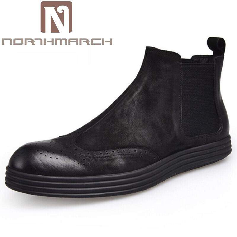NORTHMARCH Genuine Leather Men Chelsea Boots Retro Fashion Solid Cow Leather Men Winter Shoes Ankle Men Shoes Stivali Uomo Pelle