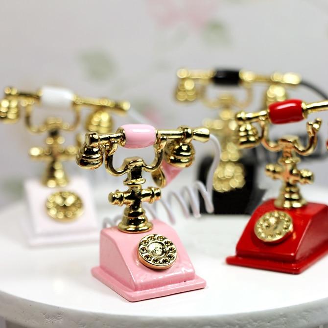 Free Shipping 1 12 Dollhouse Miniature Vintage Rotary Telephone