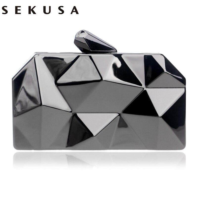 SEKUSA Geometric Design Women Fashion Day Clutch Evenign Bag Party Wedding Handbags With Chain Shoulder Small Wallets