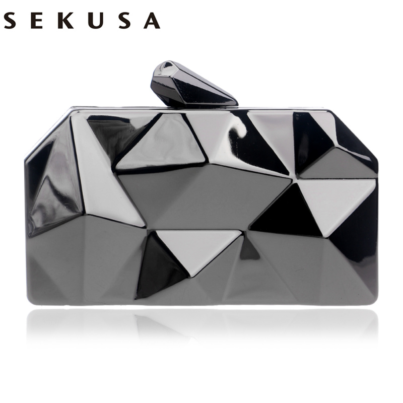 SEKUSA Geometric Design Women Fashion Day Clutch Evenign Bag Party Wedding Handbags With Chain Shoulder Small Wallets