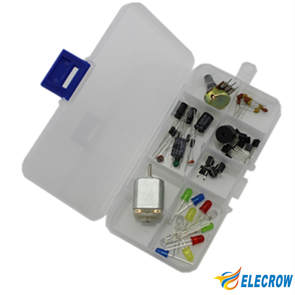 Elecrow Common Component Kit For Arduino Starter Beginners With Plastic Box Including13 Components