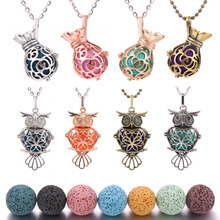 1PCS Owl Locket Necklace Round Ball Shaped Pendant With Volcanic Lava stone Long Chain 60cm Necklace for Women Jewelry retro jewelry flowers photo locket necklace natural stone long necklace for women vintage