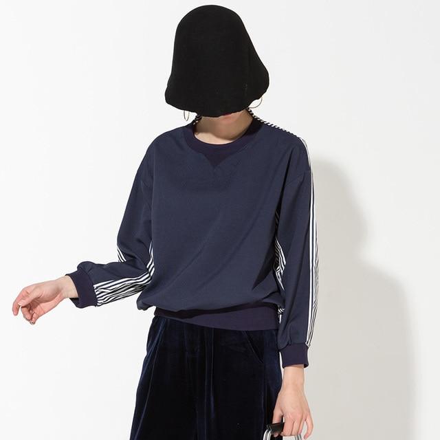 2017 nova Coreano moda solto longo-sleeved Stripe emenda fina azul Camisolas shirt tamanho Grande Impacto broca C00765