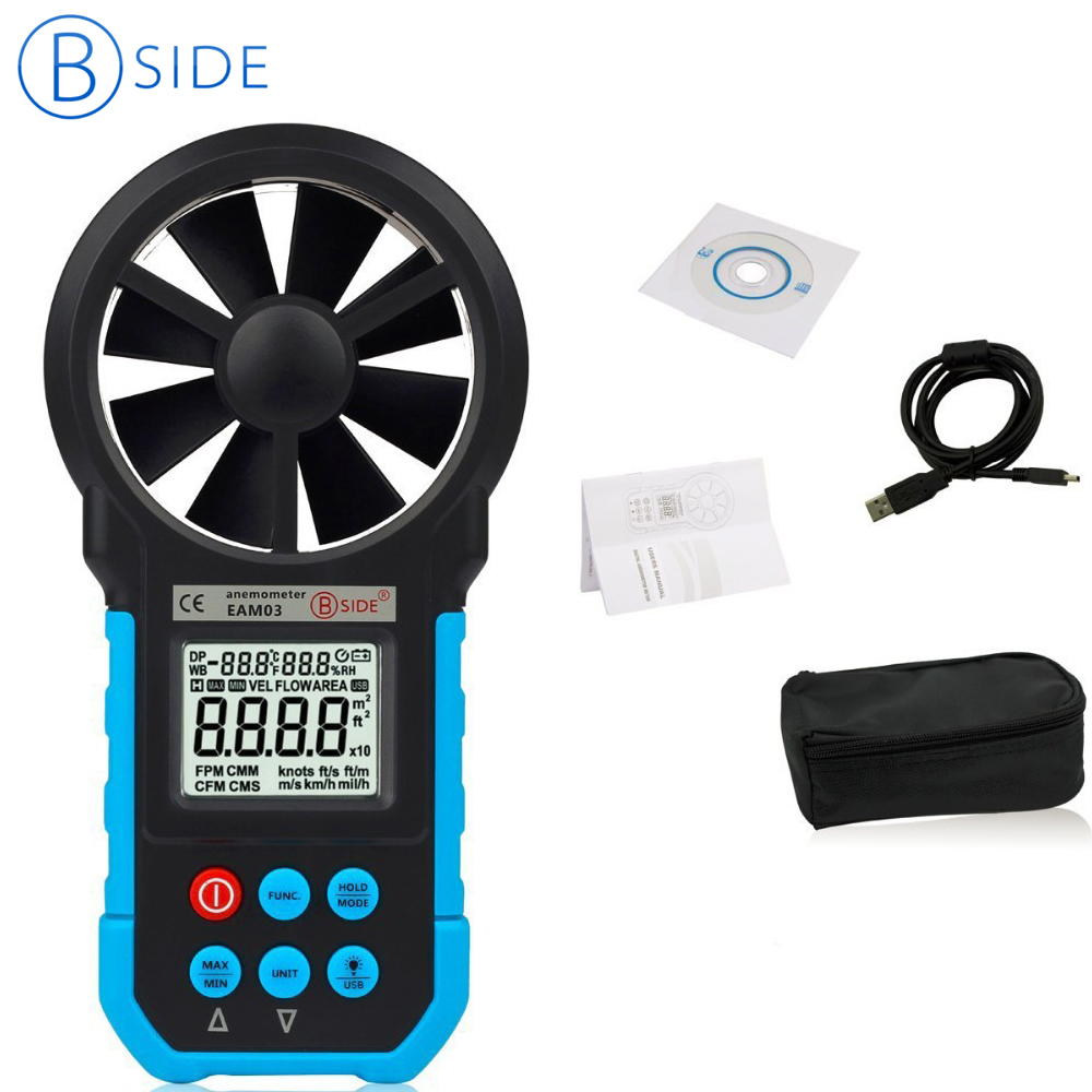 Bside EAM03 Digital Anemometer Wind Speed Meter Anemometro Air Flow Temperature Humidity Tester & USB Real Time Data digital tester 3in1 multifunction temperature humidity time lcd display monitor meter for car indoor outdoor greenhouse etc