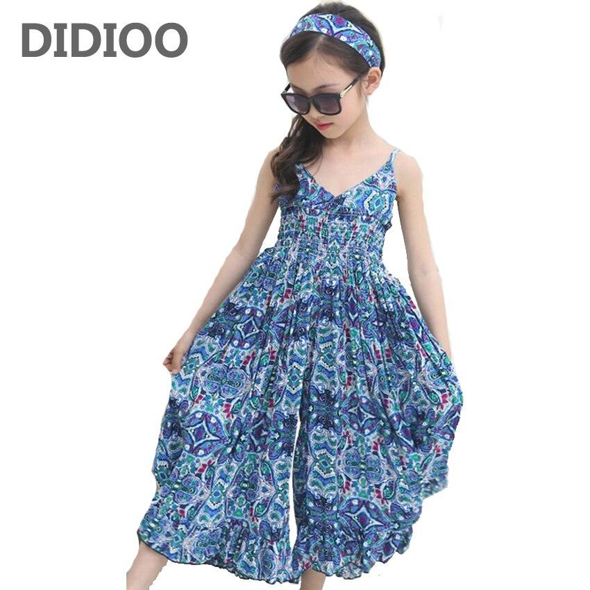 Летние платья для девочек детская одежда из хлопка пляжное платье для девочек с цветочным принтом модная детская одежда в богемном стиле пл...