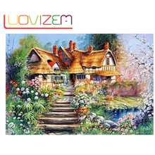 5D Diy Diamond Painting Country SceneryFull Square  3D Embroidery Cross Stitch Rhinestone Mosaic Decoration christmas