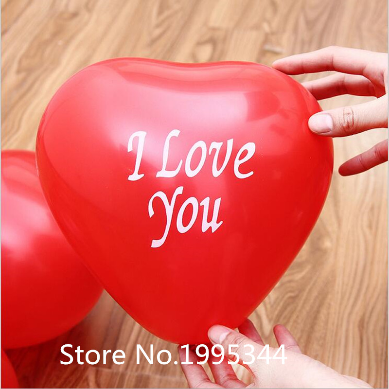 Best quality 50pcs 12inch2.0g Latex balloons red heart shaped I love you  Thicke