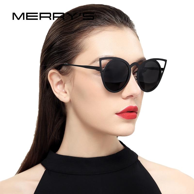 MERRY S Mode Cat Eye lunettes de Soleil Femmes Marque Designer Lunettes de  Soleil Pour Dames Vintage Oculos cateye Miroir Femelle S 8064 239492d30292