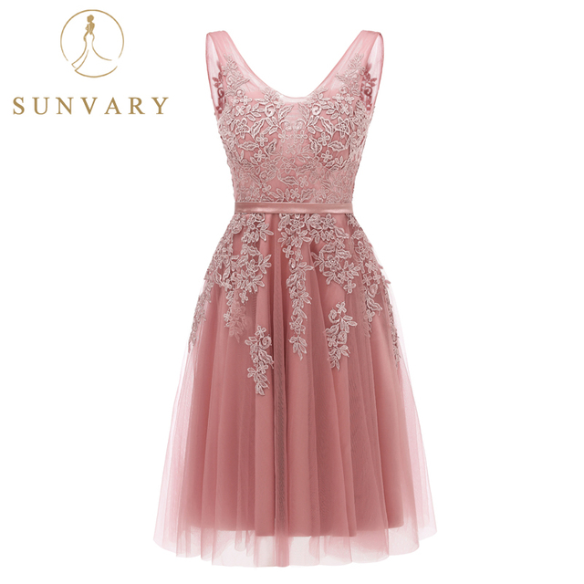 fdc83240d41c Sunvary Pink Appliqued Graduation Dresses Sleeveless Knee-Length Tulle 8th  Grade Formal Gown Custom Made V-Neck Homecoming Dress