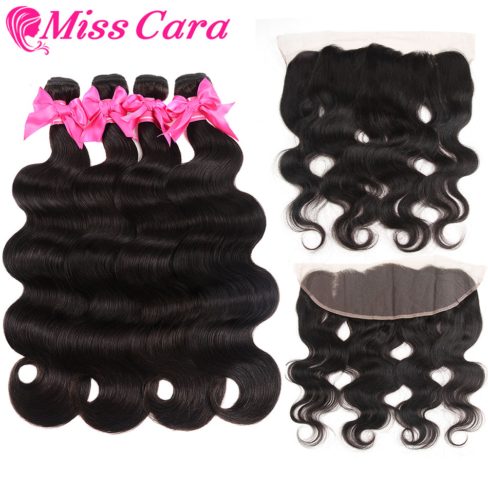 Brazilian Body Wave Bundles With Frontal 13x4 Lace Frontal With Bundles Miss Cara 100 Remy Human