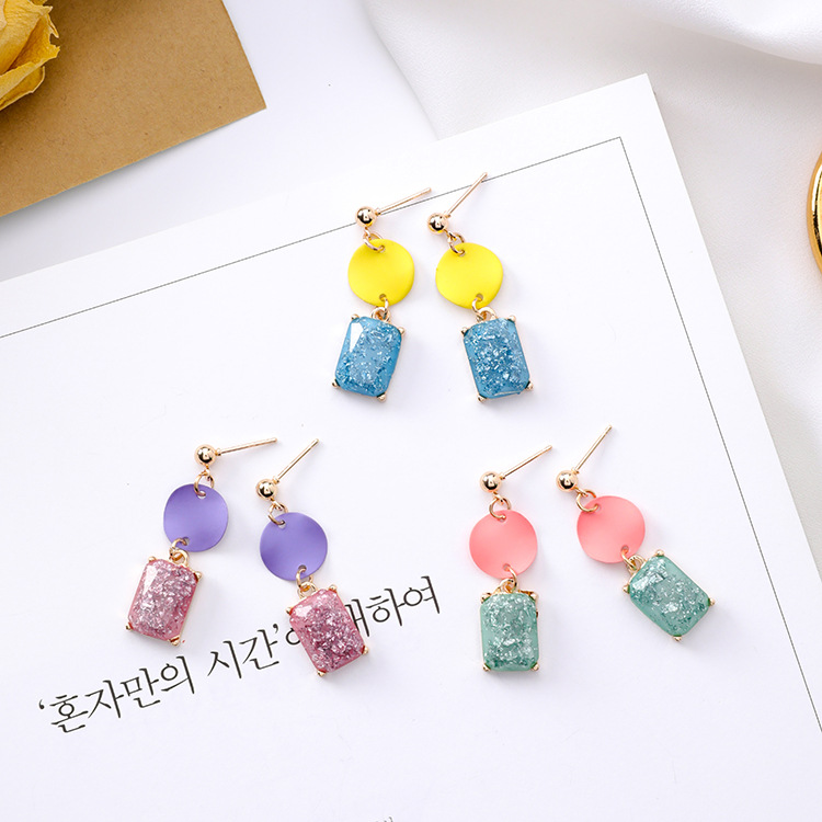Korean cute color geometric mosaic acrylic earrings candy color pink girl heart square ear ring female ...