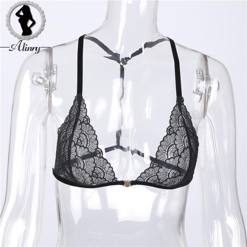 ALINRY mujer Bralette negro floral encaje sexy sujetador íntimos sujetador  Lencería delgada perspectiva ropa interior tops ahuecados sujetadores en  Bras de ... f79922a1ca56
