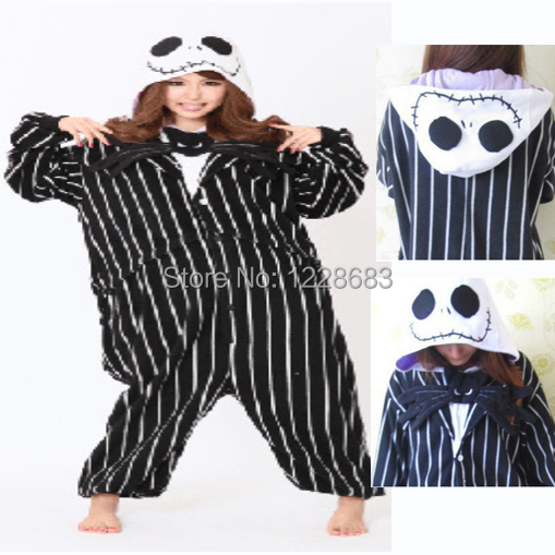 New Adult Party Jack Skellington Pajamas Onesie Plus Size XS- XL Women Men Novelty Anime Jack Skellington Cosplay Costume