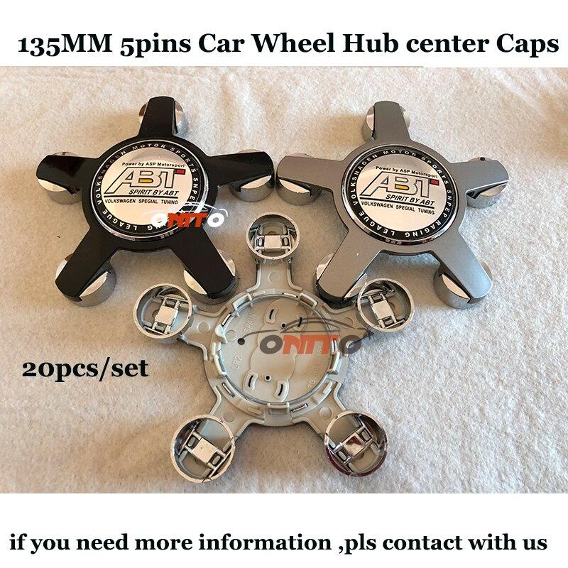 ABT Logo Auto emblem badge 135MM 5Claw Car Wheel hub center caps for Audi A1