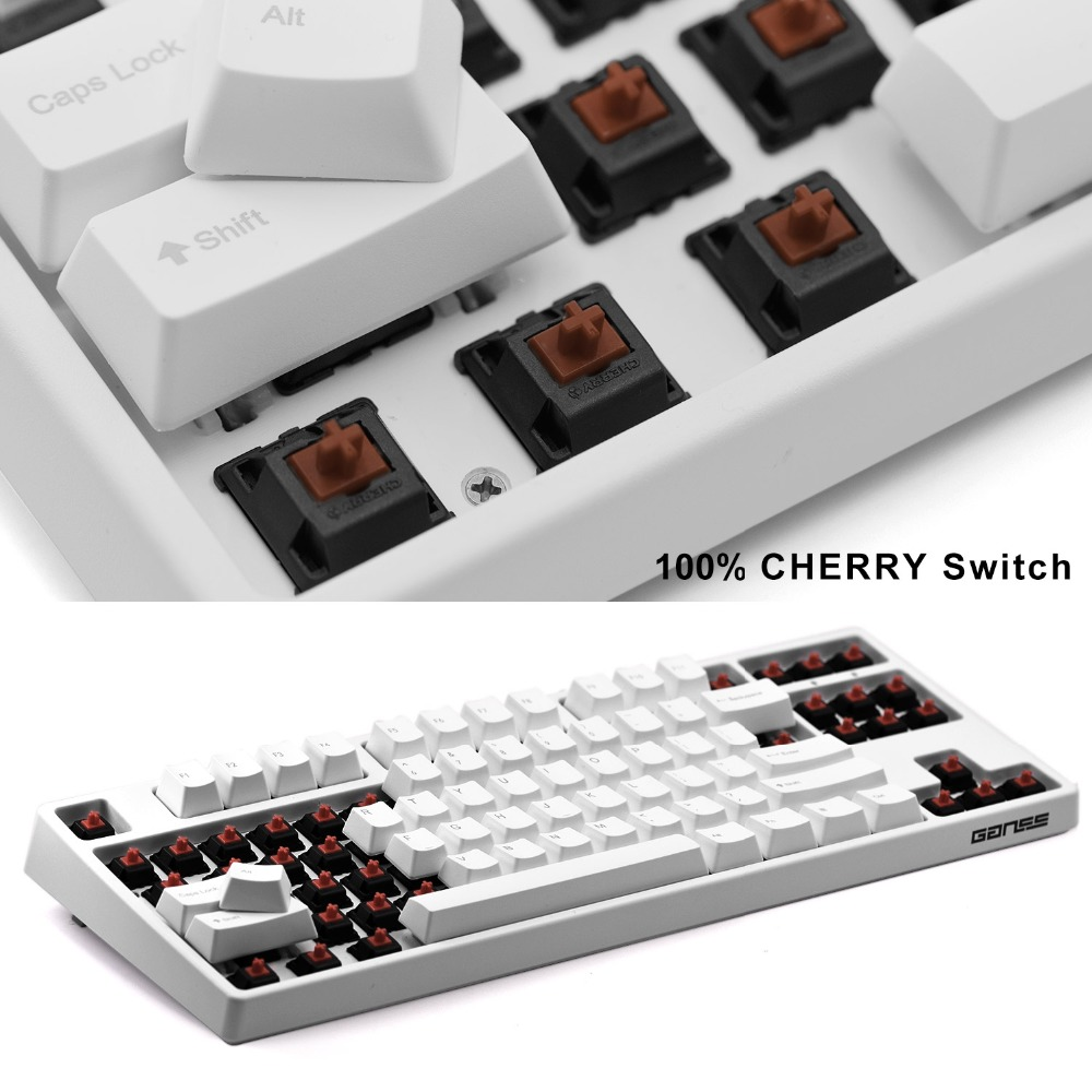 [Cherry MX Brown Switches] <font><b>Mechanical</b></font> <font><b>Keyboard</b></font> <font><b>TKL</b></font> 87 Key USB Wired Gaming <font><b>Keyboard</b></font> For Desktop Laptop (QWERTY-Layout) - White image
