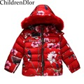 W.L.MONSOON Children's Winter Jackets for Girls Down Coat With Animal Floral Printed Hooded Kids Down Jackets Girls Outerwear