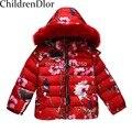 W. L. MONZÓN de Niños Chaquetas de Invierno para Niñas Abajo Cubren Con Animal Impreso Floral Niños Encapuchados Abajo chaquetas Chicas prendas de Vestir Exteriores