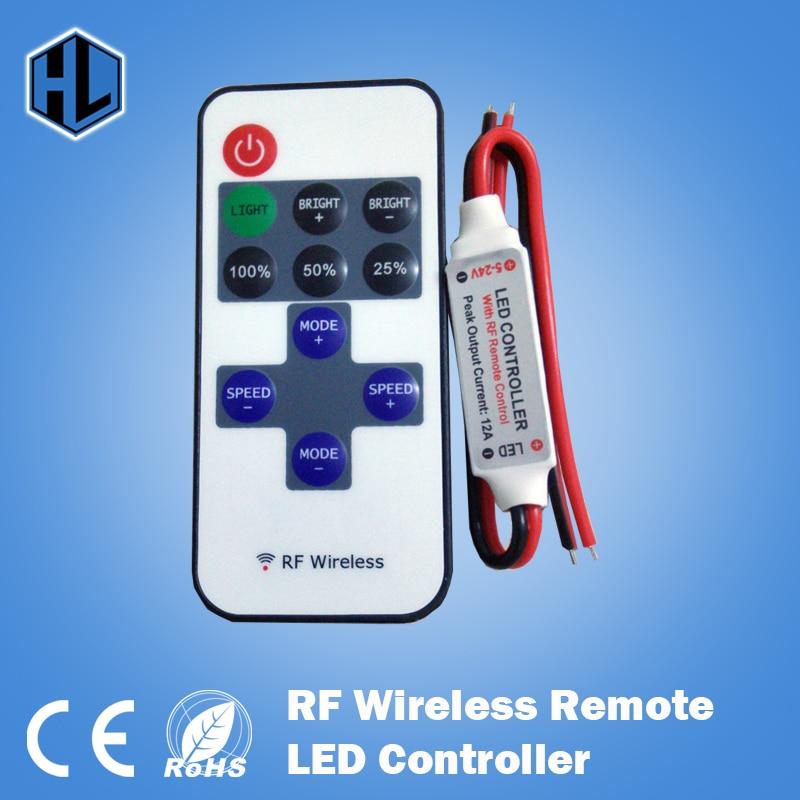 RF Remote LED Controller Wireless Dimmer Controller 12A 5V-24V for LED Strip Free Shippi ...