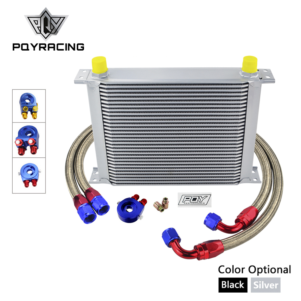 AN10 OIL COOLER KIT 30 ROWS OIL COOLER kit + OIL FILTER ADAPTER + NYLON STAINLESS STEEL BRAIDED HOSE WITH PQY STICKER+BOX цена