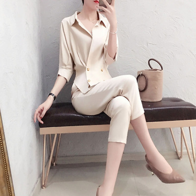 Fashion professional suit female summer New high quality casual temperament V-neck shirt + pants OL two-piece suit women 3