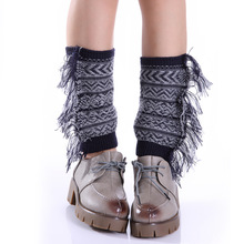 Fashion new women's knitted wool color mixed side tassel short socks set Bohemian wind foot cover leg warmers