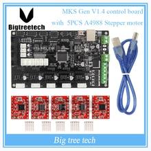 Latest 3D Printer MKS Gen V1.4 control board Mega 2560 R3 motherboard RepRap Ramps1.4 compatible with USB and 5PCS Red A4988