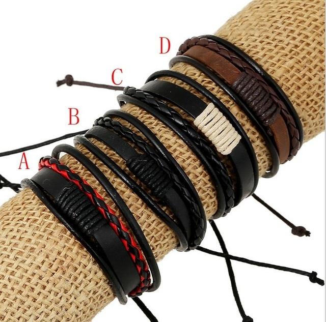 77939a70d9be 4 modelos genuino ajustable pulsera cuero nuevos productos pulseras cuero  amigos cuff pulseras hechas a mano