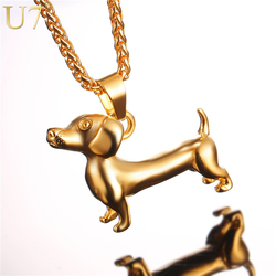 U7 Necklace Dachshund Stainless Steel Pendant & Chain Christmas Gifts Gold Color Cute Animal Badger Dog Jewelry Necklaces P1043