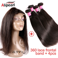 Ali pearl Hair 22.5*4*2 360 full Lace Frontal closure With Bundles Straight Brazilian Virgin Hair grace unice subella hair
