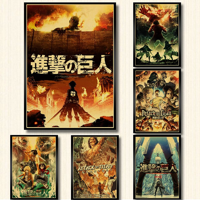 Attack On Titan Posters Japanese Anime Kraft Paper Prints Clear Image Room Bar Home Art Painting Wall Sticker