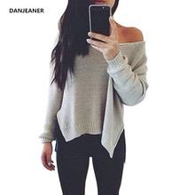 DANJEANER 2019 Spring Thin Short Pullovers Women Long Sleeve Off Shoulder V Neck Knitted Sweaters Streetwear Solid  jumpers Pull