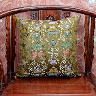 Винтаж жаккардовая подушка для кресла, дивана крышка шелковая подушка чехол площадь в этническом стиле декоративные подушки атласные рождественские наволочка 45x45 - Цвет: Коричневый