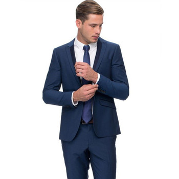 Custom Made New Style Blue 2 Piece Men Suits Formal Business Groom Tuxedos Prom Party Wedding Suit Men Suits (Jacket+Pants) Z612