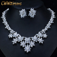 CWWZircons Gorgeous Cubic Zirconia Pave Big Flower Chokers Necklace Luxury Bridal Wedding Costume Jewelry Sets for Women T165