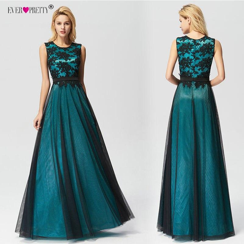 Vestido De Festa Longo Ever Pretty Real Photo Lace Appliques Long Prom Dresses 2020 Cheap Party Dress Elegant A-Line Gala Jurken