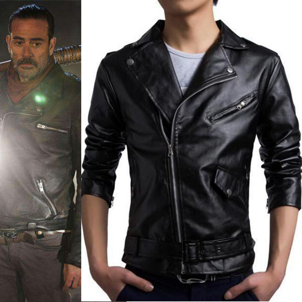 4e701d711 US $50.33 13% OFF|Aliexpress.com : Buy The Walking Dead Jacket Black PU  leather Coat Top Motorcycle Biker Streetwear jackets Negan Cosplay Costume  ...