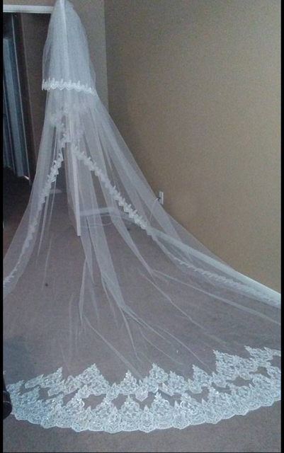 2017 New 4 Meters Two Layers Lace Edge Long Wedding Veil with Comb White Ivory Bridal Veil