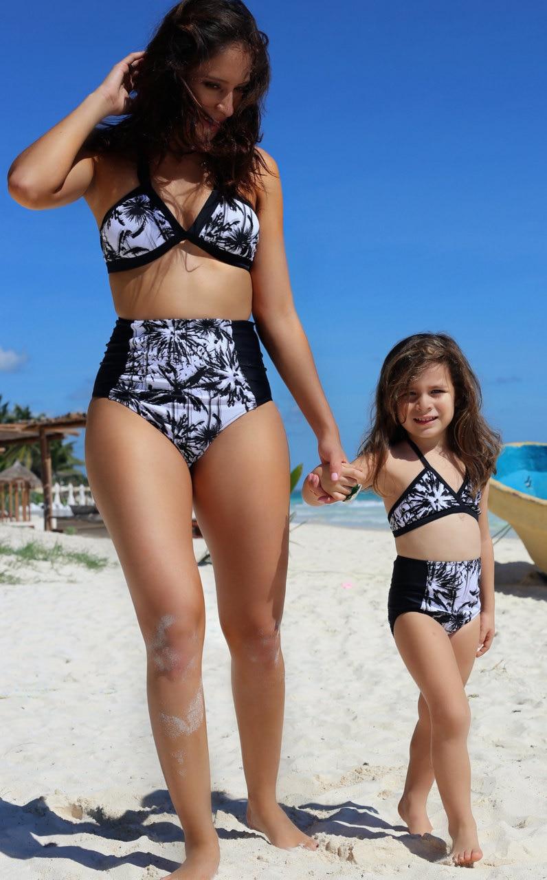 Women Bikini Sets Monokini Swimwear 2017 Summer girls Mom Folk Family Matching Outfits BeachWear Clothing Swimsuit Set