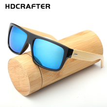 HDCRAFTER Oversized Bamboo Sunglasses Men's Wooden Sunglass for Women Vintage Square Wood Sun Glasses Oculos de sol masculino