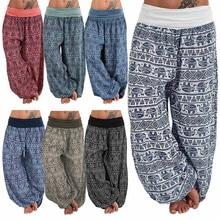 Summer Plus Size S-5XL Pants Women Ladies Casual Bohemia Printed Pockets Wide Leg Loose High Trousers Harem Pants 7 Colors Штаны цена и фото