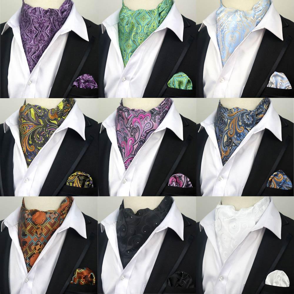 LJT01 23 Factory Mens Paisley Necktie Cravat Tie Handkerchief Set Silk Gentlemen Selft Tied Wedding Ascot Bowtie Tuxedo Wedding