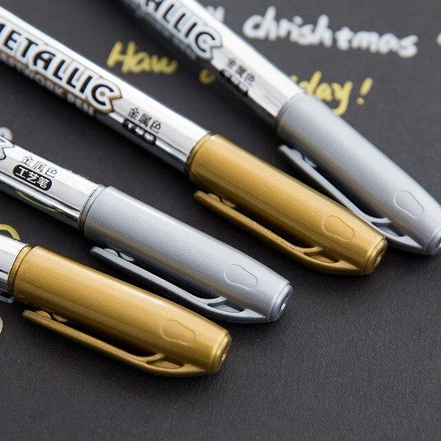 Bolígrafo metálico de pintura permanente rotuladores Diy álbum de invitación Tarjeta de foto rotulador papelería papeleria suministros escolares