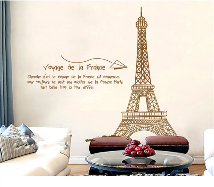 Retro Paris Eiffel Tower Wall Stickers Child Love Bedroom