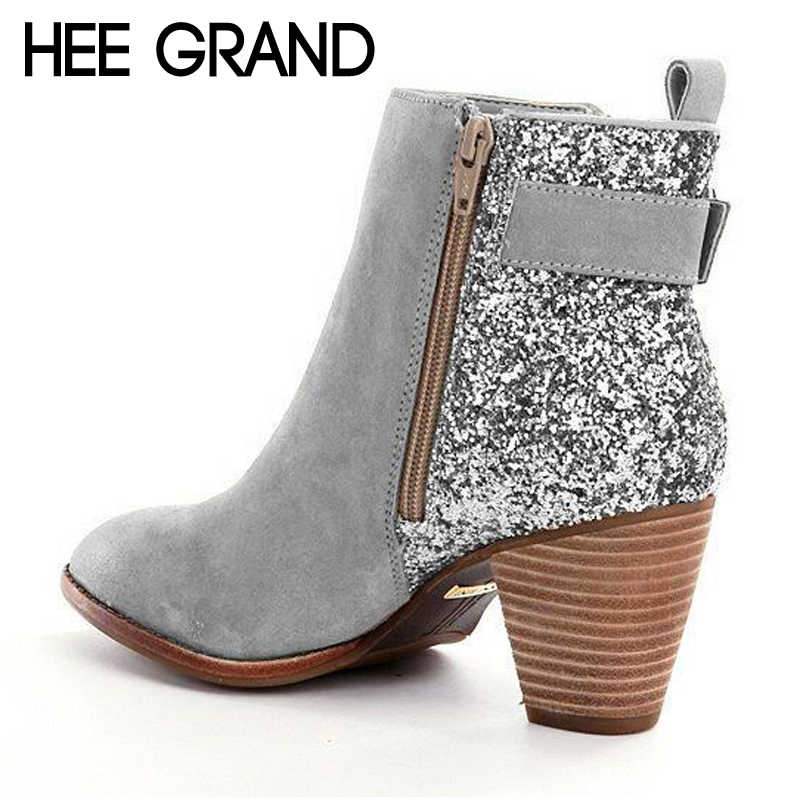 HEE GRAND Women Ankle Boots Autumn Suede High Heels Boots Ladies Fashion  Gladiator Round toe Shoes b91f242d3e04