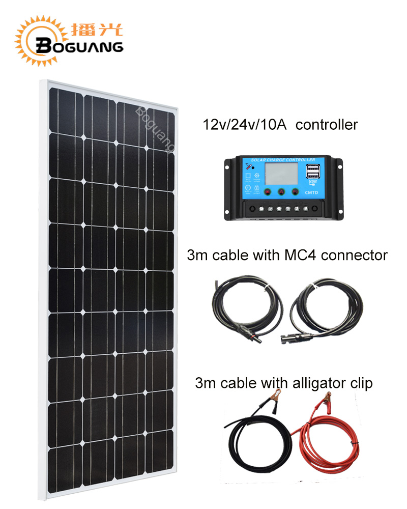 Boguang 100w solar panel module Monocrystalline silicon cell 10A USB controller MC4 connector cable 12v battery power charger h 001 solar battery cell component waterproof mc4 connector black 2 pcs