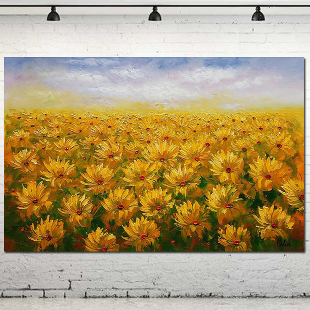 Hand Painted Abstract Sunflower Field oil painting on canvas modern ...