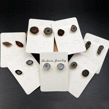 WT E330 Großhandel Natürliche Geode Stein Ohrringe Hohe Qualität Geode A tor Mit Gold Farbe Für Frauen Ohrringe Schmuck