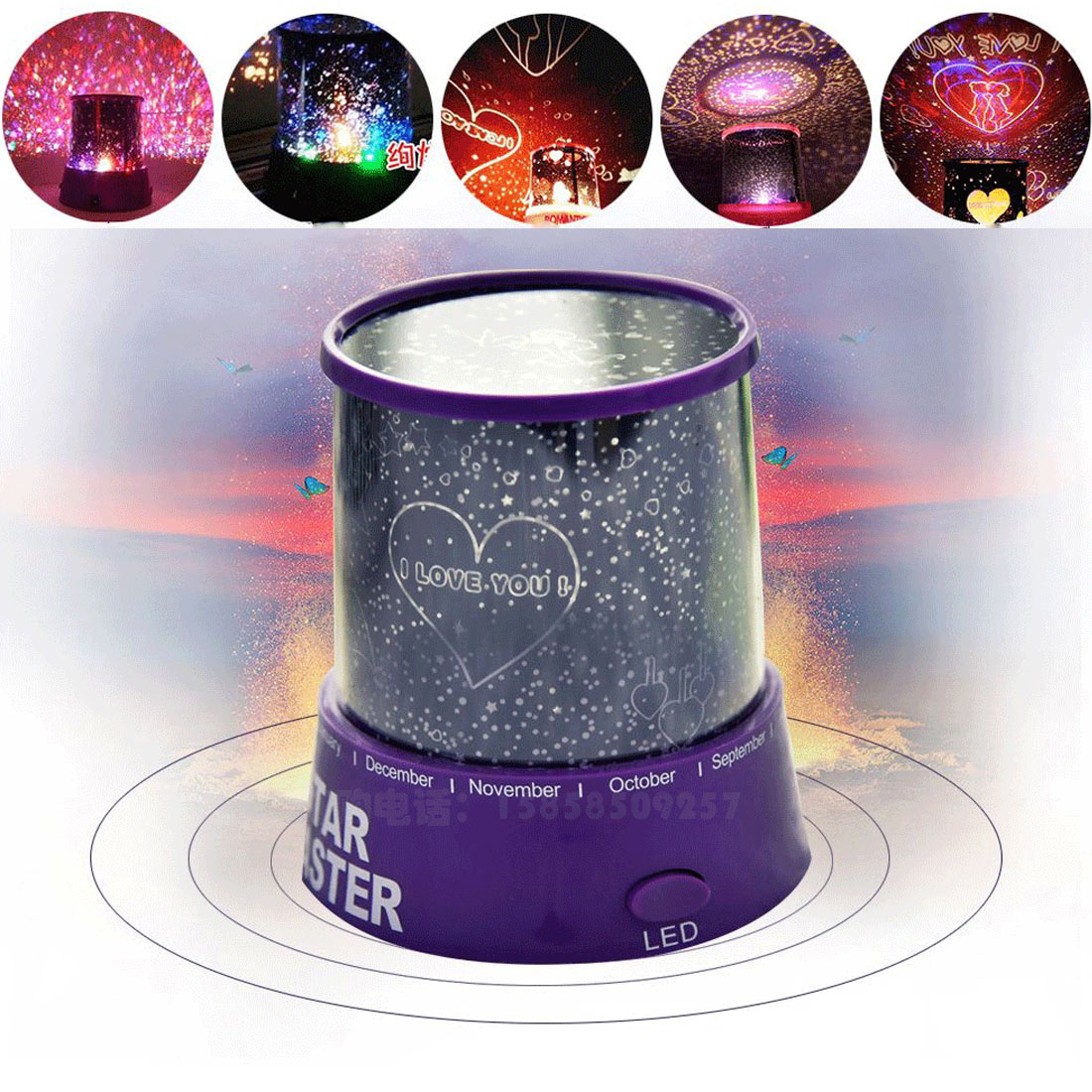 Projector Spin Starry Sky Star Moon Master LED Night Light Children Baby Sleep Romantic Colorful Led USB Projection lamp/Randow