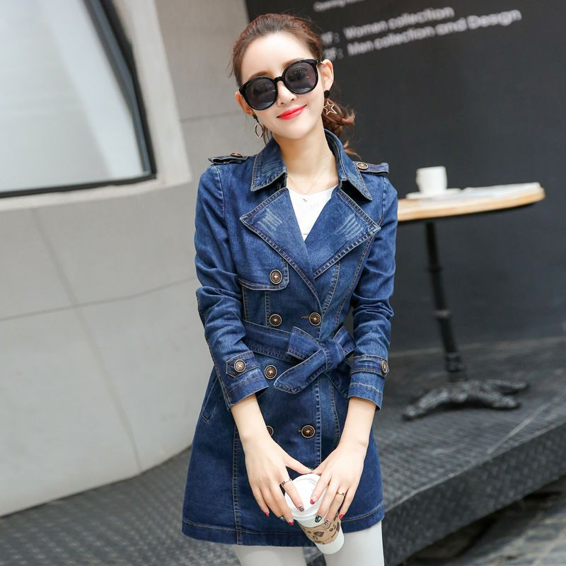 European style Female Denim Blazer Long Sleeved Jean Coat chaquetas mujer Blue slim Jeans Jacket Women Clothing Outerwear 022511